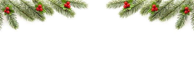 クリスマスと新年の休日トップビューボーダーデザインバナーの背景