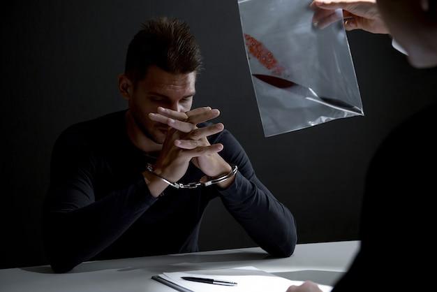 殺人の証拠としてナイフを示す警察