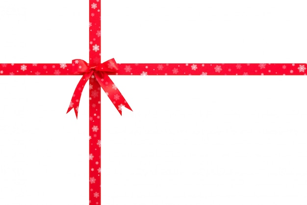 白い背景に弓を持つ美しい光沢のあるお祝いサテンの赤いリボン