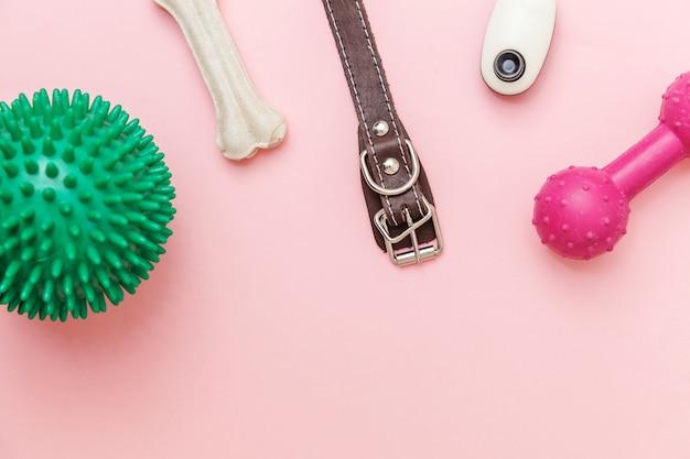 ペットの世話と動物の概念。トレンディなピンクのパステルに分離された犬の演奏とトレーニングのためのおもちゃとアクセサリー