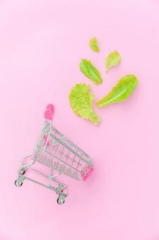 分離された緑のレタスの葉と一緒に買い物するための小さなスーパーマーケット食料品プッシュカート