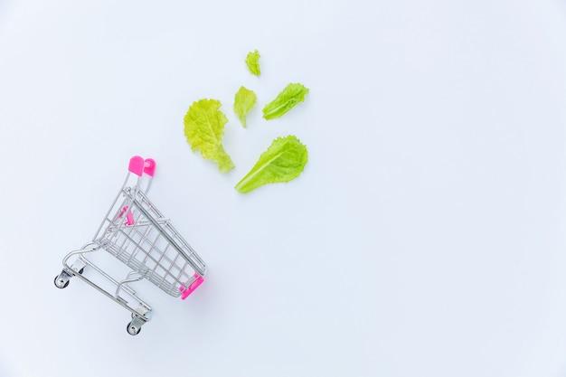エコロジーエコ製品健康食品ビーガンベジタリアンコンセプト。分離された緑のレタスの葉と一緒に買い物するための小さなスーパーマーケット食料品プッシュカート