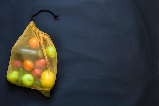 Нулевые отходы, переработанные продукты, экологическая текстильная сумка для покупок
