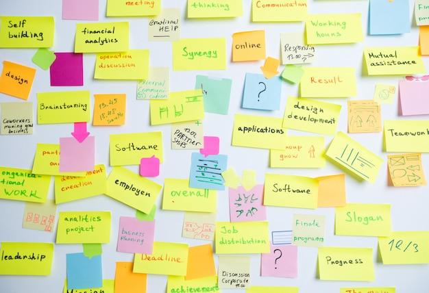 壁に色とりどりの付箋紙メモ。コンセプト、会議、チームワークのブレーンストーミング。