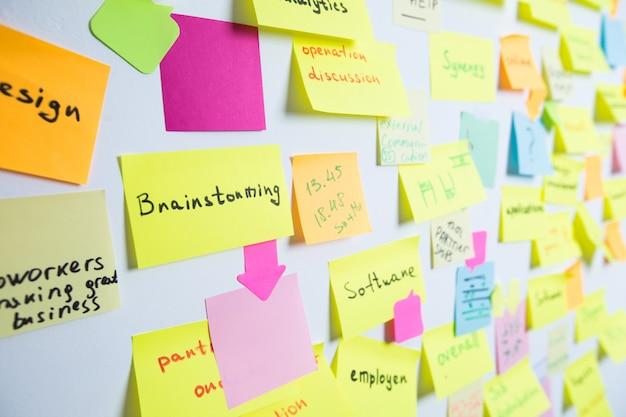 Разноцветные липкие бумажные заметки на стене. концепция мозгового штурма, встреча, работа в команде.