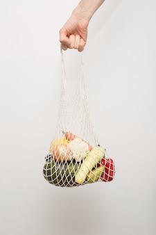 野菜と果物の再利用可能なテキスタイルエコショッピングバッグ。
