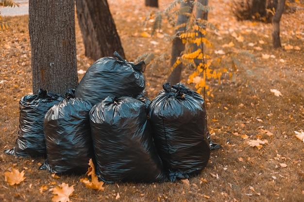 秋の屋外のプラスチック製の黒いゴミ袋