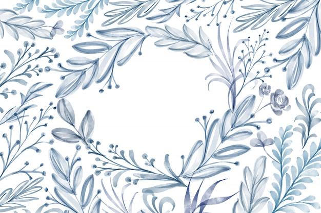 白い背景に分離された水彩花フレーム葉夏
