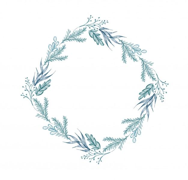 水彩画の葉の花輪