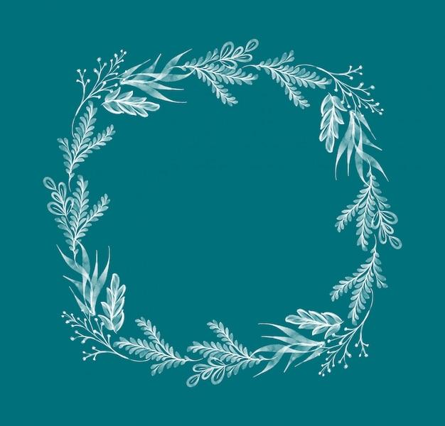 Акварель цветочный венок листик летний для поздравительных открыток на свадьбу