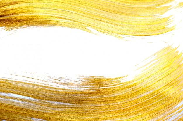 アクリルペイントブラシで美しい大きな抽象的なゴールド