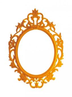 美しいビンテージ金色のフォトフレームまたはミラーの分離