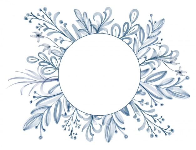 水彩花と葉のフレーム