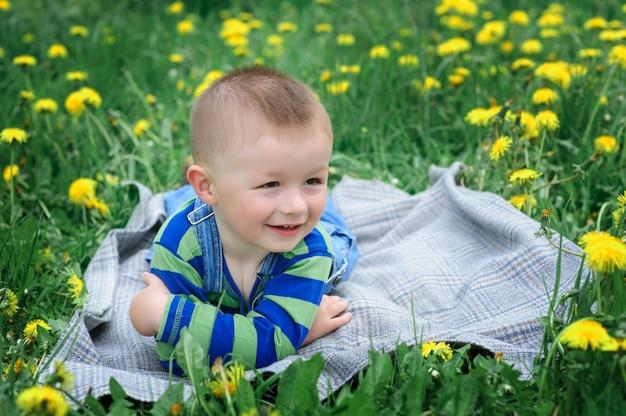 花の牧草地の上に横たわる小さな男の子
