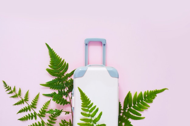 ピンクのスーツケースと熱帯の葉