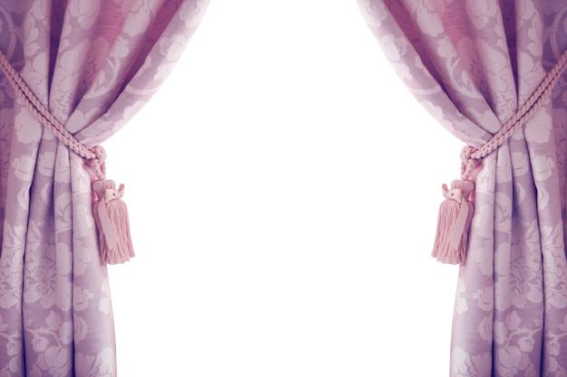 紫色の白い背景で隔離のカーテン