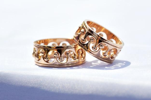 Два обручальных кольца крупным планом