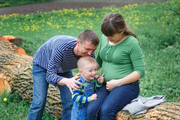 ピクニックに彼女の夫と息子を持つ妻