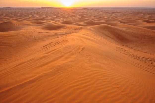 砂漠の砂の夕日