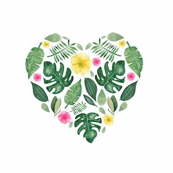 手の水彩イラストは熱帯の花と葉を描いた