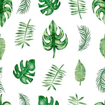 水彩トロピカル葉シームレスパターン。手描き緑の熱帯の葉のパターン。