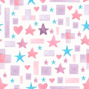 シームレスな水彩画手描きの星