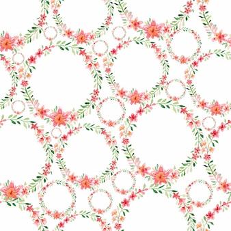 水彩のシームレスなカラフルな花の花輪のパターン。