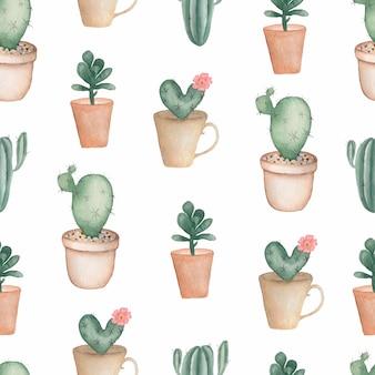 水彩画の手描きの植木鉢に家の緑の植物。