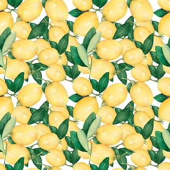 レモンと水彩のシームレスパターン。