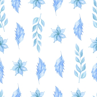 青い花と水彩のシームレスパターン