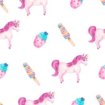 Симпатичный акварельный узор единорога с конфетами и мороженым