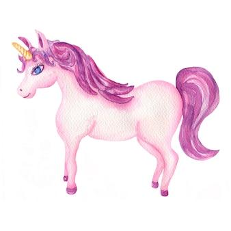 水彩のピンクと紫のユニコーン