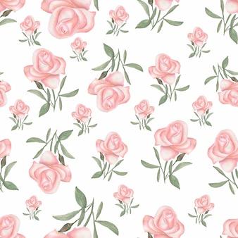 高級花の水彩画のシームレスなパターン。バラとハーブ。