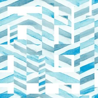 白地にスカイブルー色のシームレスな水彩抽象パターン