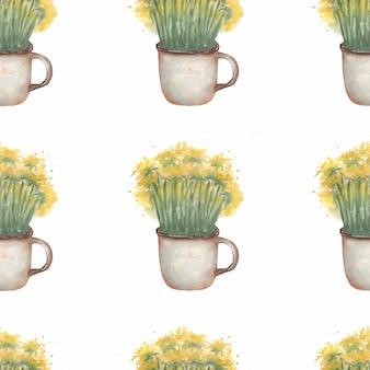 マグカップで水彩のタンポポの花。牧草地の植物のシームレスなパターン。