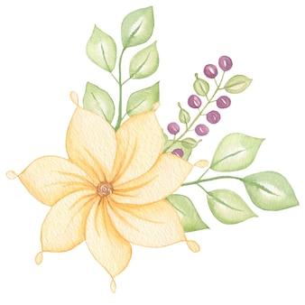 葉と花、果実の水彩画とかわいいカラフルな花の植物の花束。