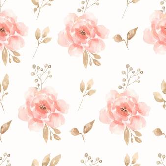 水彩のシームレスな花牡丹とバラの花束パターン。