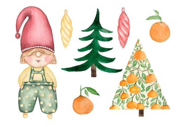 Акварельный набор рождества и нового года милый гномик