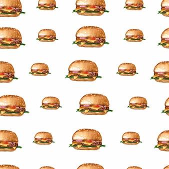 水彩ハンバーガー繰り返しパターン