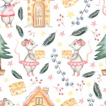 スケート、クリスマスツリー、チーズとラット、新年の装飾の水彩イラスト、装飾と要素の手で分離された図面と水彩のシームレスなパターン。