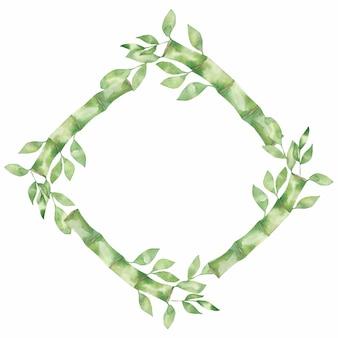 竹の緑の葉と黄金の葉のフレーム。水彩イラスト。緑の自然な花輪フレーム。