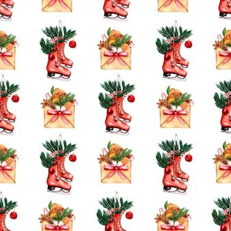 手描きの赤いリボンとスケートの封筒の冬パターン