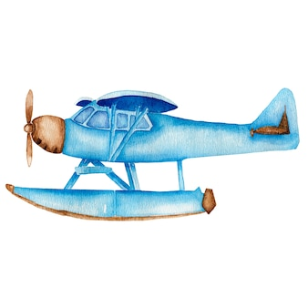 Акварель старинный синий самолет