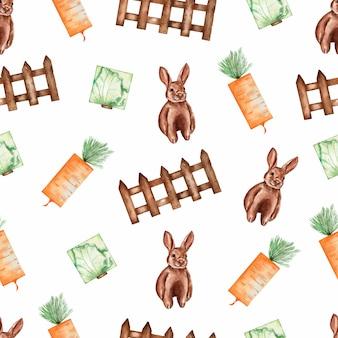 水彩ガーデンツール、有機野菜、ウサギのシームレスパターン