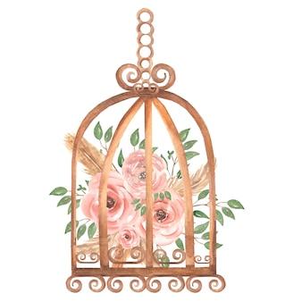 手描きの水彩のさびたヴィンテージ鳥かご汚いピンクのバラの花と緑の葉の枝。プロヴァンス風イラスト。