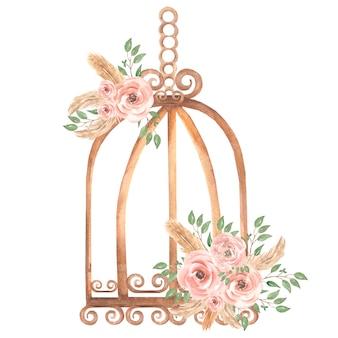 手描きの汚れたピンクのバラの花の花束と緑の葉の枝を持つ水彩さびたビンテージ鳥籠。プロヴァンス風イラスト。