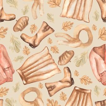 Акварельная иллюстрация моды бесшовный образец с осенними листьями, юбкой, ботинками, шарфом и кардиганом.