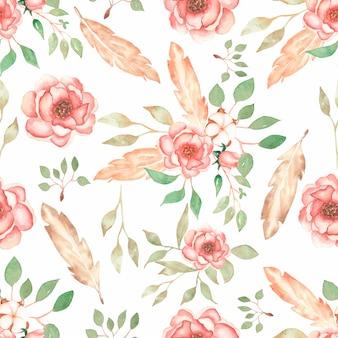 水彩花の花束、葉の枝、牡丹の花の花と羽の美しい、シームレスなタイルパターン。ビンテージ背景。