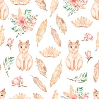 Красивый, бесшовный, мозаичный узор с акварельными кошачьими животными - милыми рыжими кошками с цветочным венком, цветочными букетами, веткой листьев, цветками магнолии, перьями и короной с перьями.