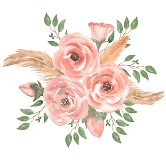 緑の葉、芽、羽、枝と水彩の手描きピンクのバラの花の花束イラスト。ウェディングブーケ。